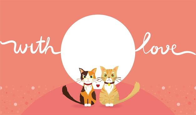 Fond d'écran rose du chat en couple avec amour