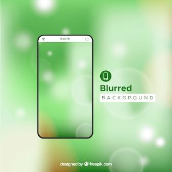 Fond d'écran vert défocalisé brillant de mobile