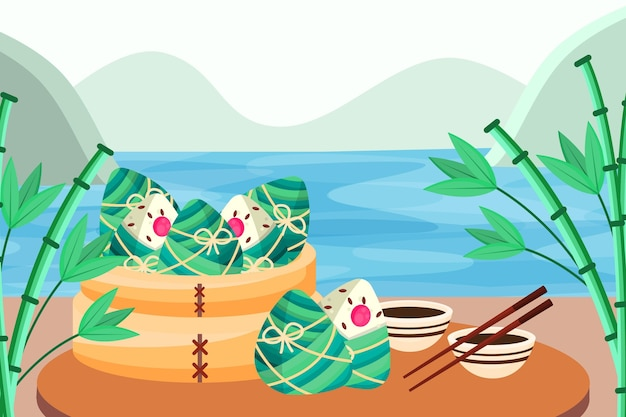 Fond d'écran avec les zongzi du bateau dragon