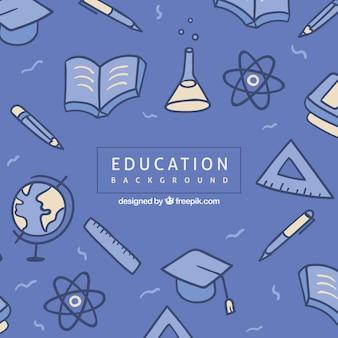 Fond de l'éducation bleue avec des éléments
