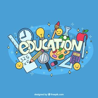 Fond de l'éducation dessinés à la main avec des éléments