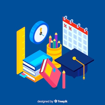 Fond d'éducation isométrique