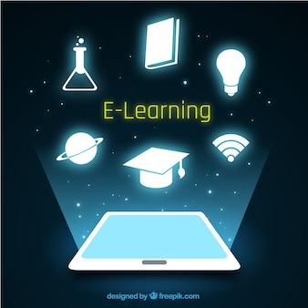Fond d'éducation numérique avec tablettes et brillants objets