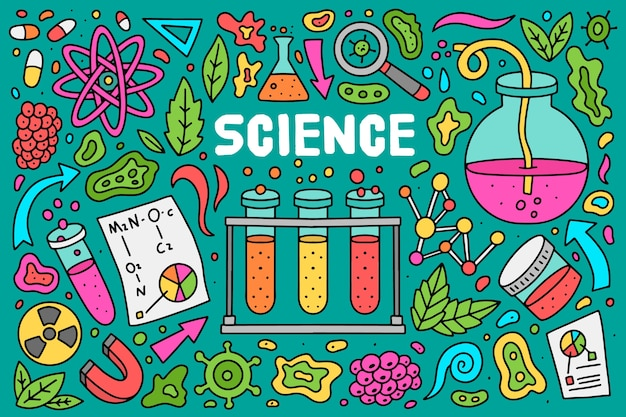 Fond d'éducation scientifique coloré dessiné à la main