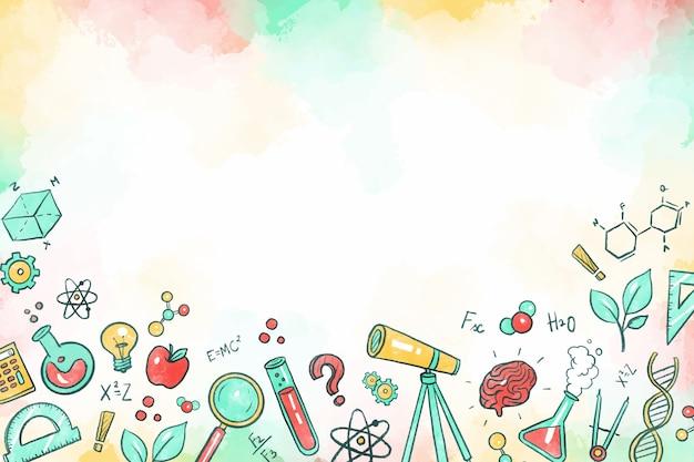 Fond d'éducation scientifique coloré dessiné à la main