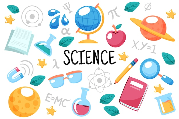 Fond d'éducation scientifique dessiné à la main