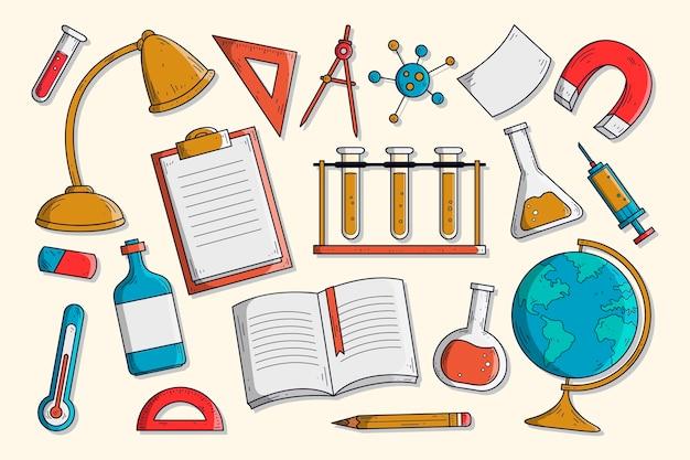 Fond d'éducation scientifique dessiné à la main