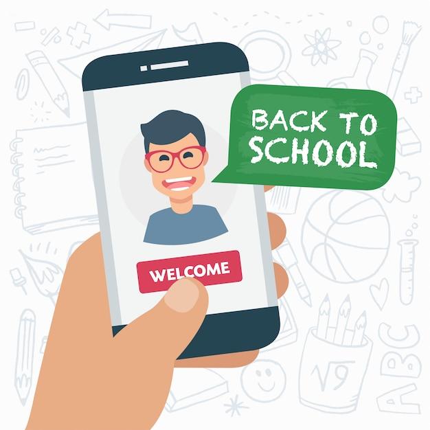 Fond d'éducation avec smartphone