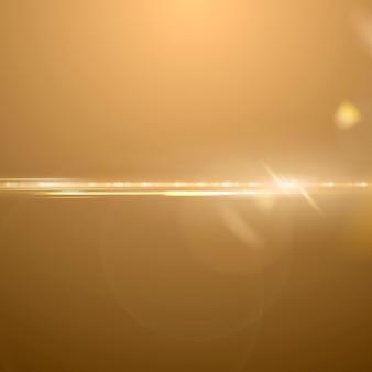 Fond d'effet d'éclairage vectoriel anamorphique lentille flare or