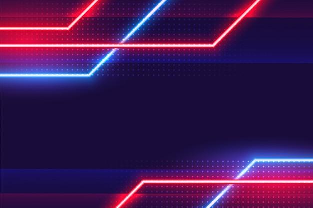 Fond d'effet de lignes néon lumineux géométriques abstraites