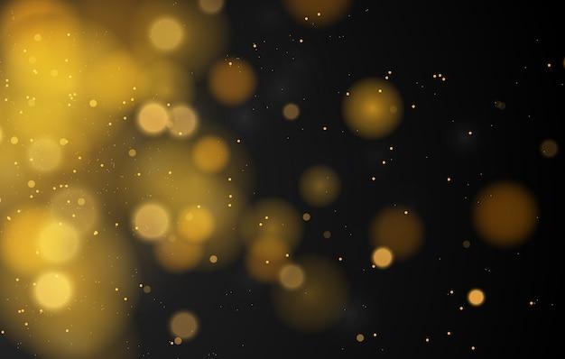 Fond d'effet de lumières bokeh magique abstraite, noir, paillettes d'or pour noël