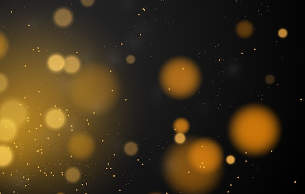 Fond d'effet de lumières bokeh magique abstraite, noir, paillettes d'or