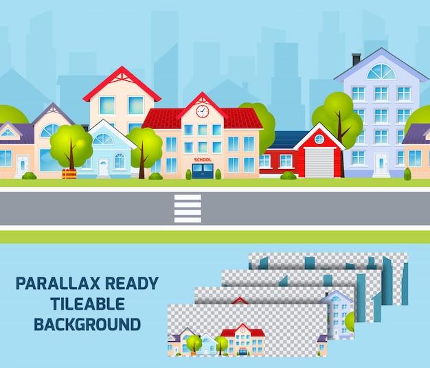 Fond effet de parallaxe de paysage urbain