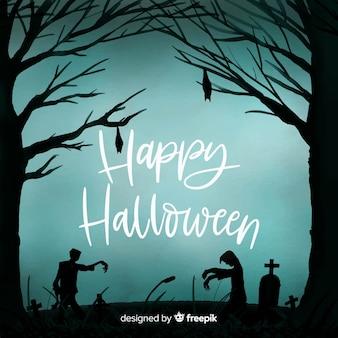 Fond effrayant d'aquarelle halloween