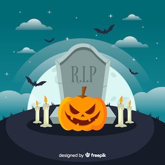 Fond effrayant halloween avec un design plat