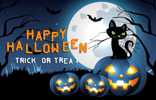 Fond effrayant d'halloween heureux. fête d'halloween ou invitation de bannière avec chat et citrouille. illustration d'horreur.
