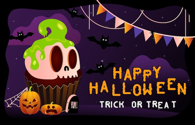 Fond effrayant d'halloween heureux. fête d'halloween ou invitation de bannière avec gâteau squelette. illustration d'horreur.