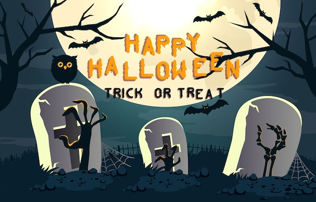 Fond effrayant d'halloween heureux. fête d'halloween ou invitation de bannière avec hibou et tombe. illustration d'horreur.