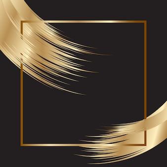 Fond élégant avec cadre doré et coups de pinceau