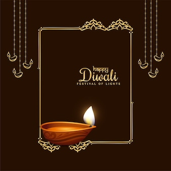 Fond élégant de cadre doré festival joyeux diwali