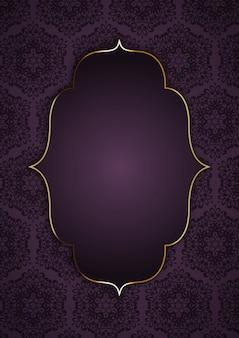 Fond élégant avec cadre doré sur motif décoratif
