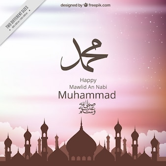 Fond élégant mawlid avec mosquée