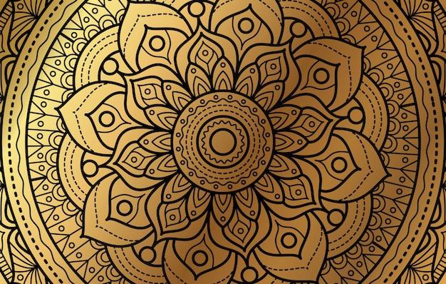 Fond élégant avec motif floral de luxe doré