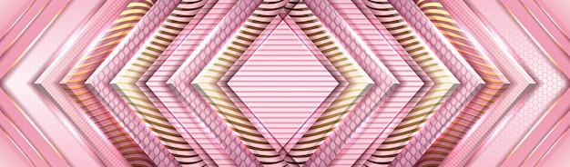 Fond élégant avec papier rose et violet et décoration légère dorée