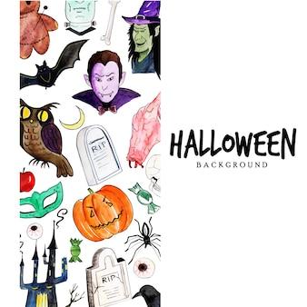 Fond d'éléments aquarelle halloween