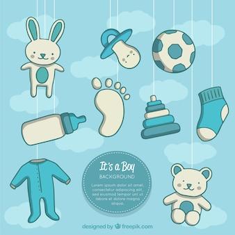 Fond d'éléments de bébé dans un style dessiné à la main