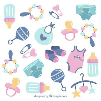 Fond d'éléments de bébé avec des jouets et des vêtements mignons