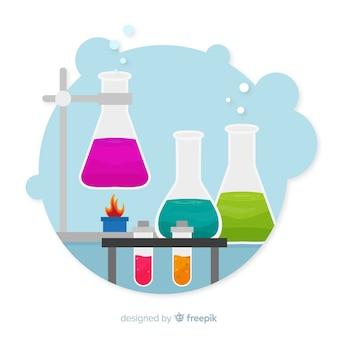 Fond d'éléments de chimie plat