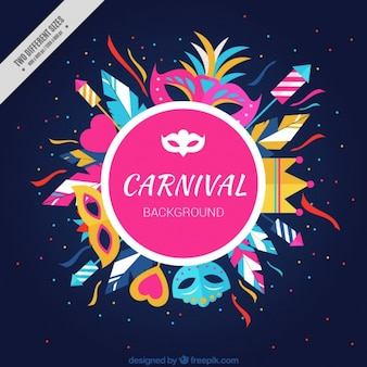 Fond d'éléments colorés de carnaval