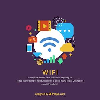 Fond d'éléments colorés liés à wifi