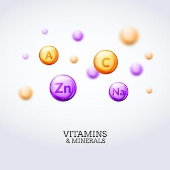 Fond d'éléments colorés de vitamines minérales. illustration de concept de vitamines et de minéraux de soins de santé.