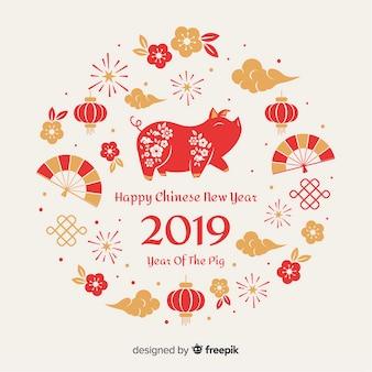 Fond d'éléments du nouvel an chinois
