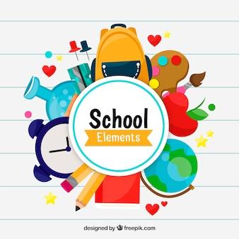 Fond d'éléments de l'école avec des fournitures scolaires