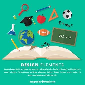 Fond d'éléments de l'éducation avec livre ouvert