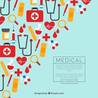 Fond d'éléments de médecine dans un style plat