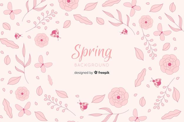 Fond d'éléments de printemps dessinés à la main
