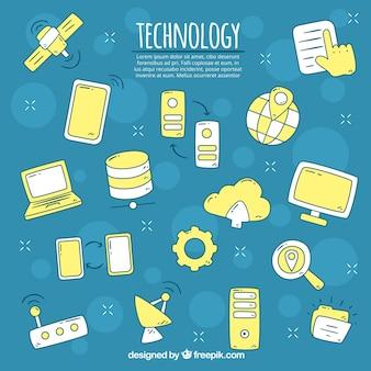Fond d'éléments de technologie dans le style dessiné à la main