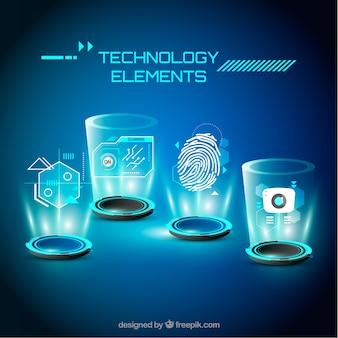 Fond d'éléments de technologie dans un style réaliste