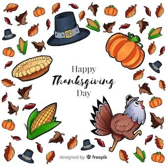 Fond d'éléments de thanksgiving dessinés à la main