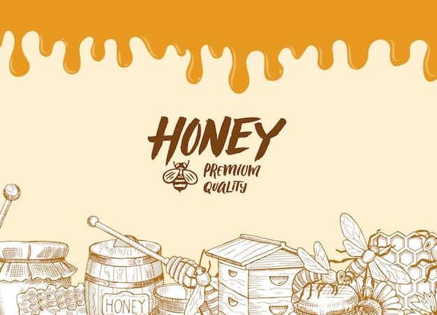 Fond avec des éléments de thème de miel profilés esquissés, gouttes de miel et lieu pour illustration de texte