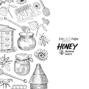 Fond avec des éléments de thème de miel profilés esquissés avec la place pour l'illustration de texte