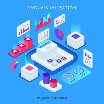 Fond d'éléments de visualisation de données isométriques
