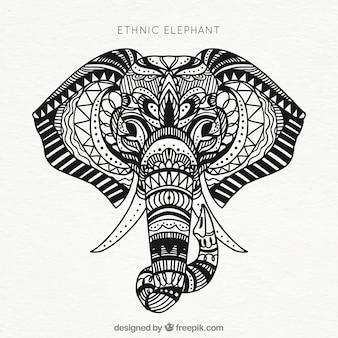 Fond d'éléphant ethnique tiré à la main