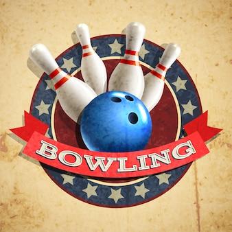 Fond d'emblème de bowling