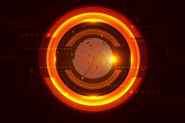 Fond d'empreintes digitales au néon de la technologie