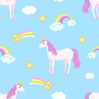 Fond d'enfant avec licorne, étoiles et arc-en-ciel